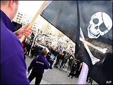 Protesta por el juicio a The Pirate Bay