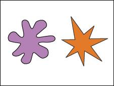 Dos formas, una con terminaciones redondas y otra con terminaciones angulosas
