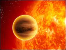 Imagen de un artista de un planeta fuera del sistema solar.
