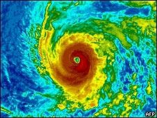 Imagen satelital de un huracán