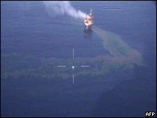 Fuga de petróleo en la torre de perforación marítima West Atlas.