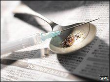 Cuchara con heroína y jeringa