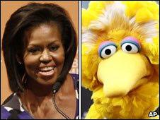 Michelle Obama y Abelardo de Plaza Sésamo