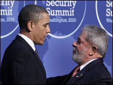 Obama e Luila na Cúpula de Segurança Nuclear em Washington. Foto AP/Charles Dharapa