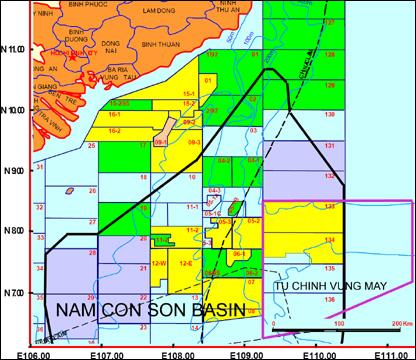 Bản đồ vùng Tư Chinh – Vũng Mây và bồn trũng Nam Côn Sơn.