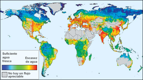Mapa de la distribución del agua en el planeta