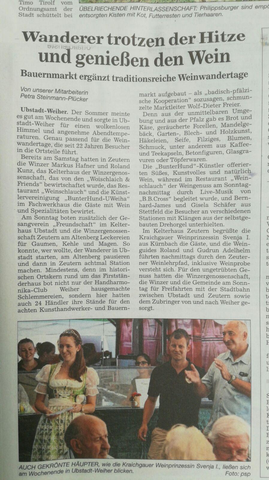 BNN - Bericht über Weinwandertage in Zeutern