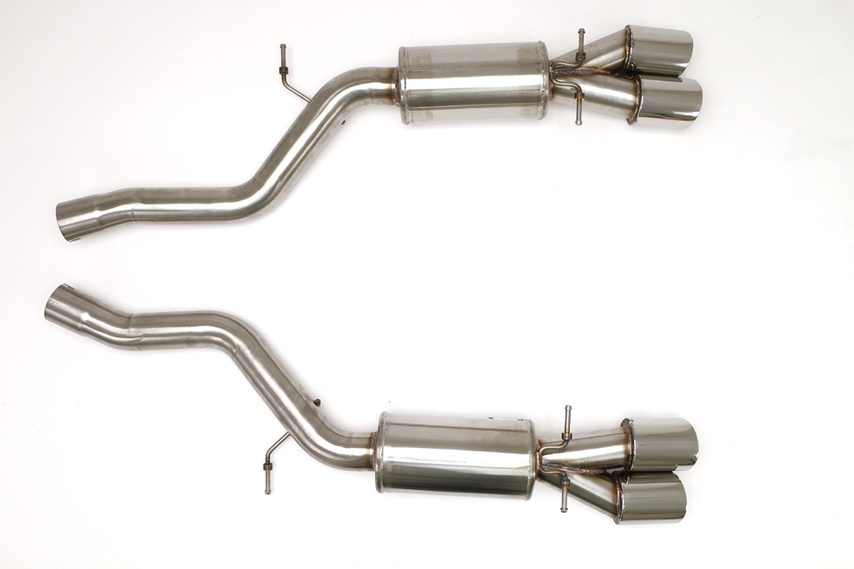 bmw e63 m6 cat back exhaust system coupe and convertible round tips fbmw 1120