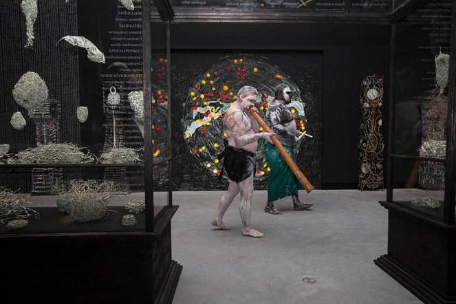 simon mordant Matthew Doyle and Djakapurra Munyarryun opening australia pavilion venice