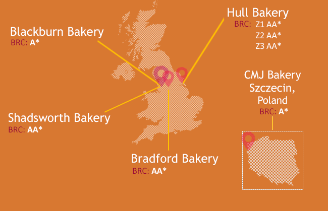 Small map of BBF Bakeries