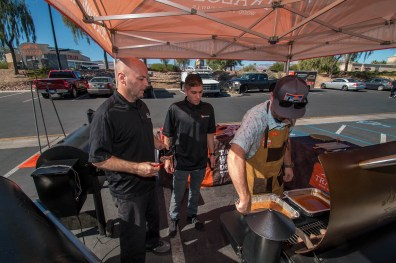 John Cerul, Omid Mahban, and Traeger Representative Taylor at BBQ Concepts