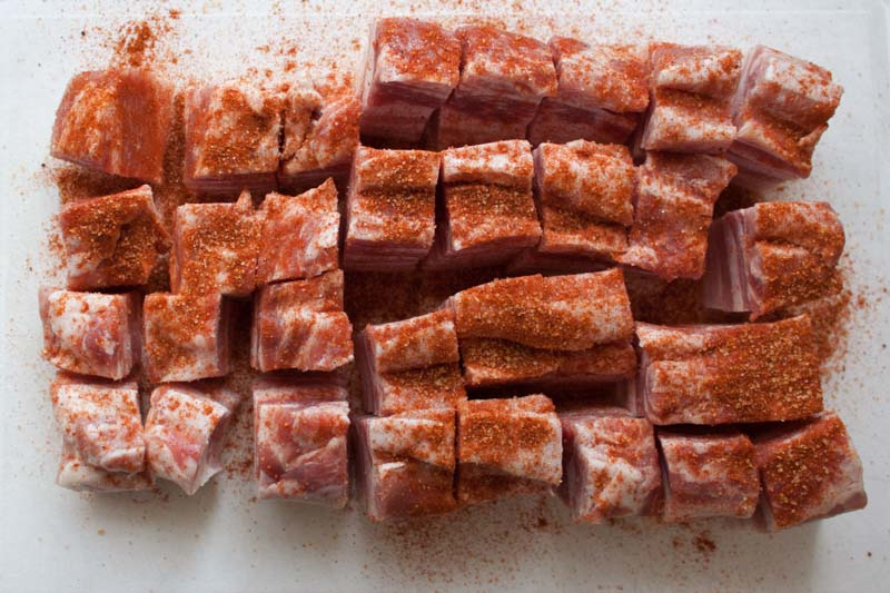 Pork belly burnt ends- the chunks covered in rub
