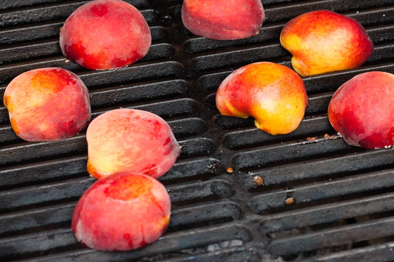 Grilled Peaches and Cream Popsicles - grilling the peaches