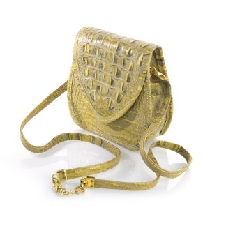 B-3746 BB Simon Gold Italian Leather Swarovski Jeweled Handbag