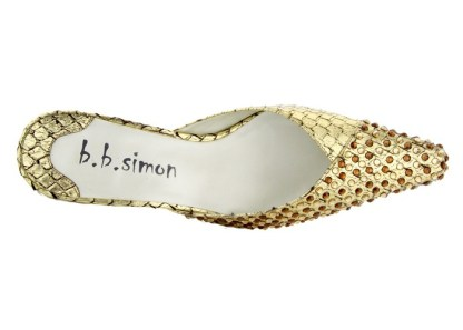 B.B.SIMON SHOES 7463-Gold-LCT-LST Womens Swarovski Shoes