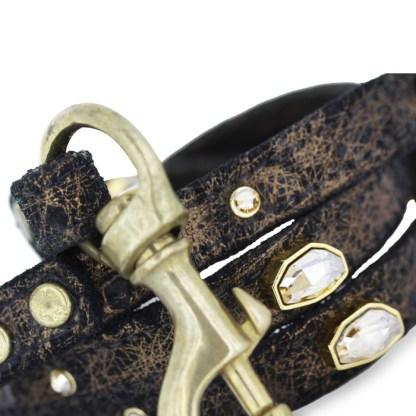 LEASH-JACKY Black Leather Swarovski Dog Harness