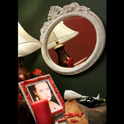 M-530 BB Simon Wide Round Crystal Mirror