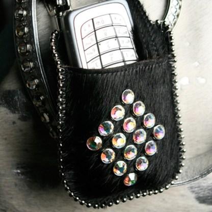 T11-N1-AB Swarovski Diamond Black Pony Hair Phone Case Holder