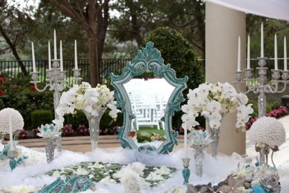 WEDDING #1 - Crystal Bling Wedding Decorations for Rent - White Wedding Seats and More
