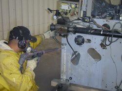 Industriële printer reiniging doormiddel van ijsstralen