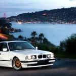 White Bmw E34 Sedan On Gold Face Bbs Rc Bbs Rs Zone