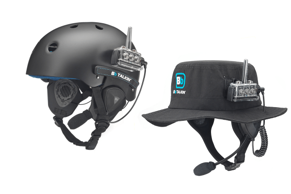 On the water radio package with helmet and surf hat