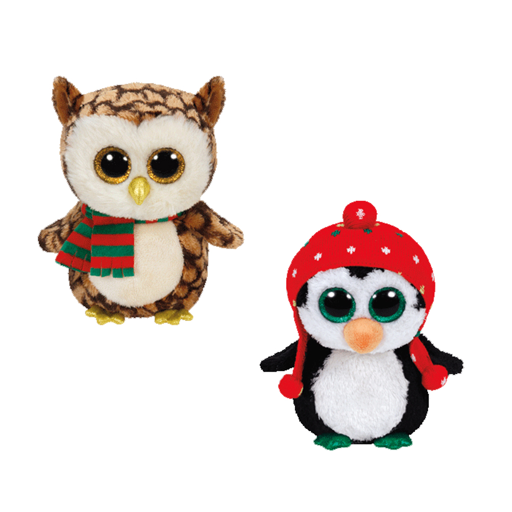 TY Beanie Boos SET Of 2 CHRISTMAS 2015 Releases Wise