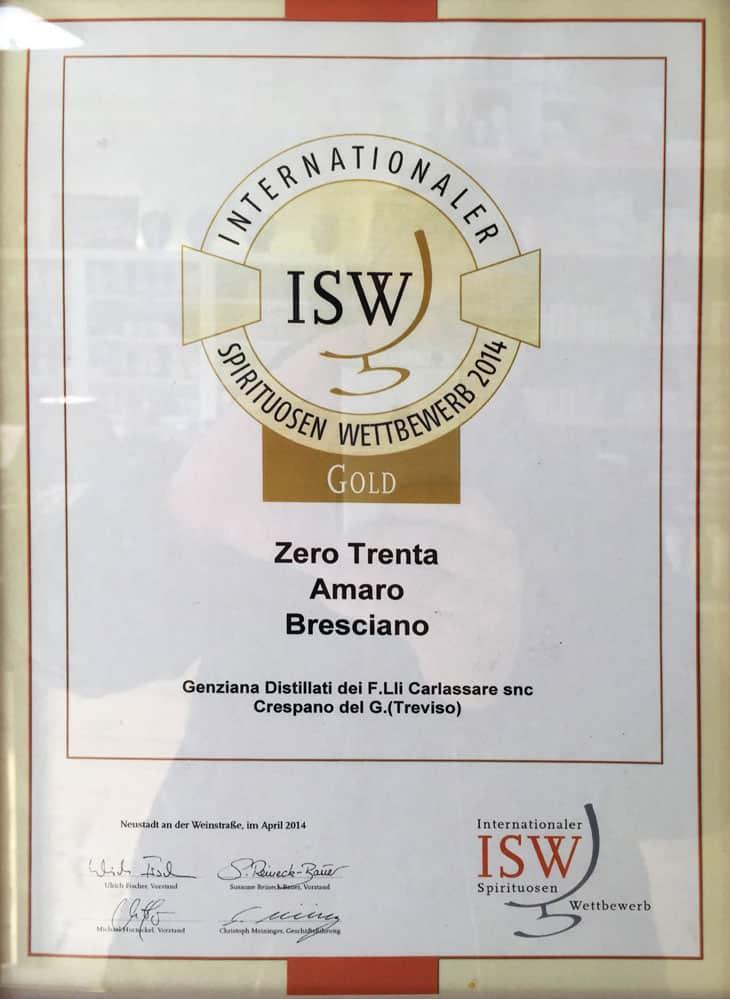 Certificato internationaler spirituosen wettbewerb 2014 per ZeroTrenta