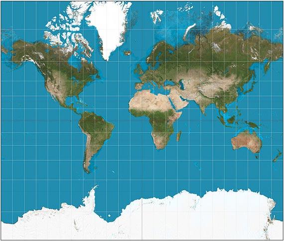 En la proyección de Mercator, Europa sale bien proporcionada pero los tamaños están exagerados en las zonas polares