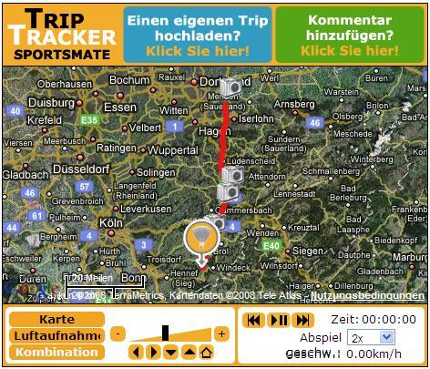 Track der Fahrt bei Trip-Tracker