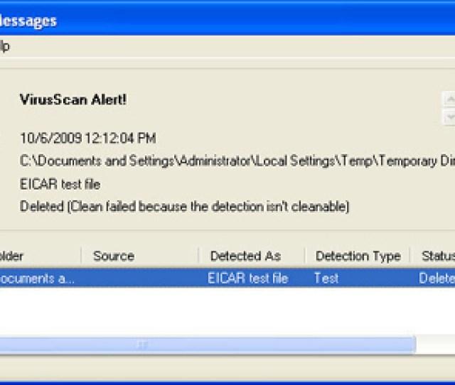 Warning Mcafee Virus Warning
