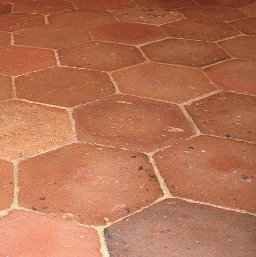 antique french terracotta hexagon