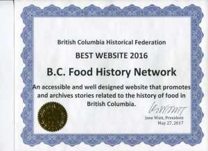 BCHF Certificate for Best Website 2016