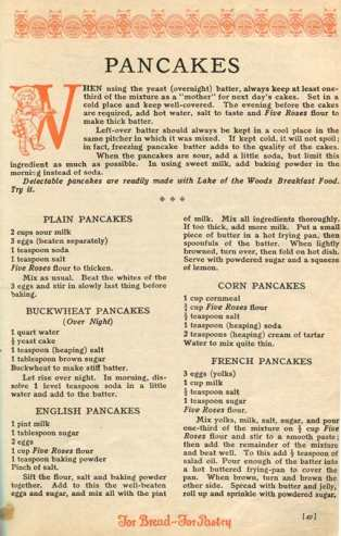 Five Roses Cookbook - recipe for pancakes