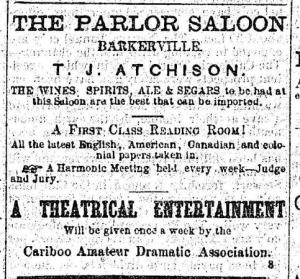 Advertisement in the Cariboo Sentinel for The Parlor Saloon
