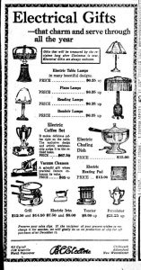 Electrical gifts for Christmas 1920