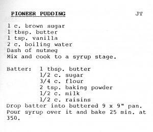 Pioneer pudding recipe