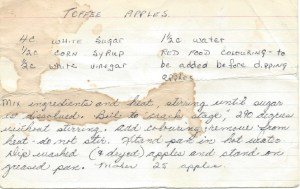 Recipe for toffee apples