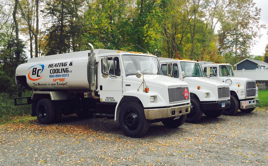 BC Heating & Cooling oil delivery trucks