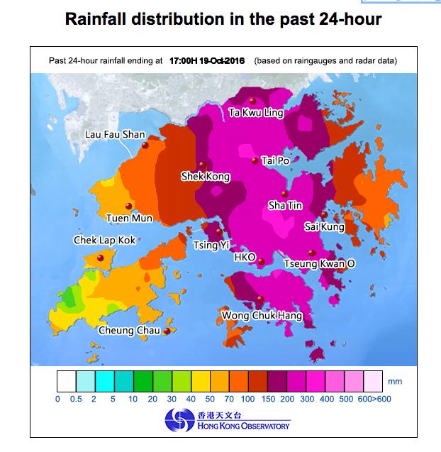 Heavy rain across Hong Kong