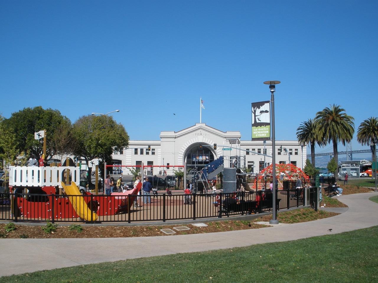 Ferry Building and Sue Bierman playground