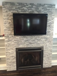 """90"""" Flat Screen TV Above Fireplace Installation, Whitefish Bay, Wisconsin, Shorewood, River Hills, Fox Point, Whole House A/V Installation, Low Voltage cell phone antenna Installation, Residential A/V System Installation Services, Whole House A/V Multi Zone Audio & Visual, At home entertainment, Audio and video systems, Indoor and outdoor lighting, Security systems, Heating and cooling control, Air quality monitoring"""