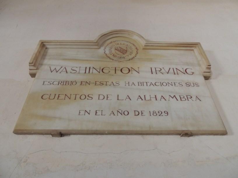 Lugar de inspiración para Washington Irving en la Alhambra de Granada