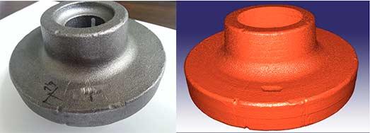 Fig.1- Objeto real, pieza de forja Fig.2- Reconstrucción 3D