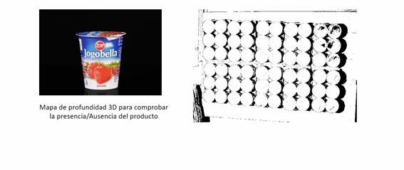 Inspección 3D de presencia o ausencia de producto lácteos envasados en cajas y pallets