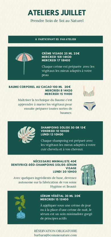 Calendrier Ateliers BcommeNature Juillet 2020