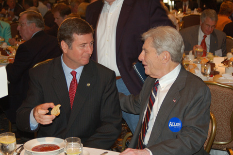 Incumbent Republican U.S. Senator George Allen (left) talks with his colleague, U.S. Senator John Warner.