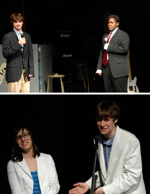 """A FEW PICTURES FROM THE GEORGE MASON HIGH SCHOOL SPRING SHOW, last week. Top, Will Perkins and Elizabeth Morrison drew laughter with their comedy schedule, """"Tommy's in Trouble."""" Bottom, Juliana Hardesty and Nathan Ward served as co-hosts for the annual event. (PHOTOS: Bob Morrison, Bonnie Briar Productions LLC)"""