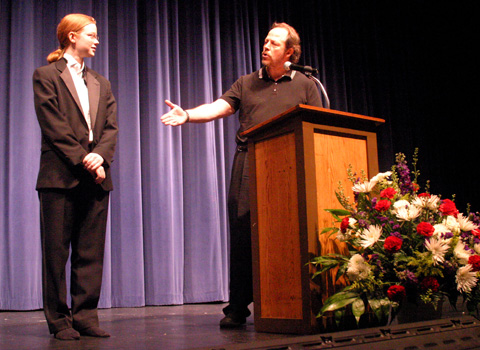 THEATRE PRODUCTION INSTRUCTOR John Ballou (right) presents an Outstanding Contribution to the Stage Crew award.