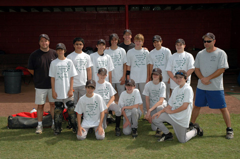 The Rockies pose in their championship t-shirts after defeating the Brewers in extra-innings, and days, last weekend in the Babe Ruth title game. (Photo: Courtesy Phil Duncan)